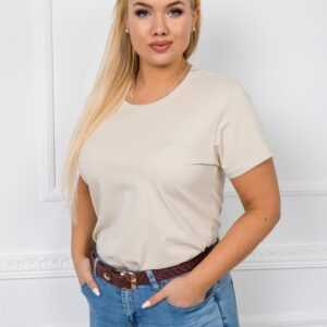 Beżowy t-shirt plus size
